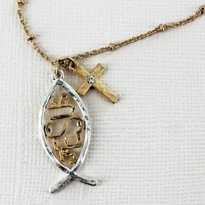 Jewelry - TWO-TONE JESUS FISH AND CROSS NECKLACE